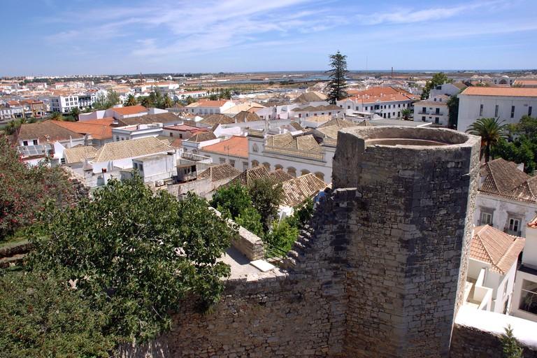 Panoramic view from the Castelo de Tavira Castle Algarve Iberia Portugal Europe