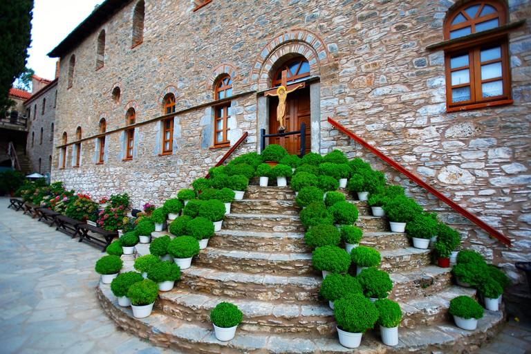 ADT5EY greece northern sporades skiathos island a display of pots of basil at evangelistria monastery