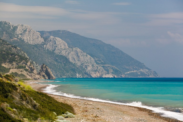 GREECE, Northeastern Aegean Islands, LESVOS (Mytilini), Vatera: View of Lesvos South Coast