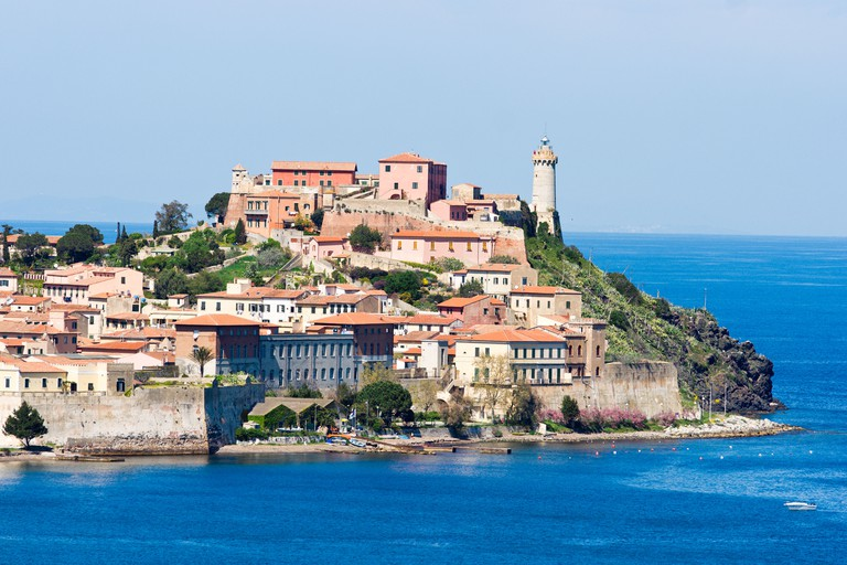 AYARHY View of Portoferraio old city with Forte falcone and theLighthouse Isle of Elba Livorno Italy