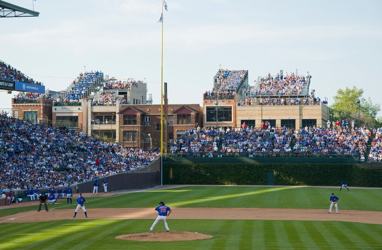 Chicago Cubs Wrigley Field unauthorized roof top seats across the street on building rooftops