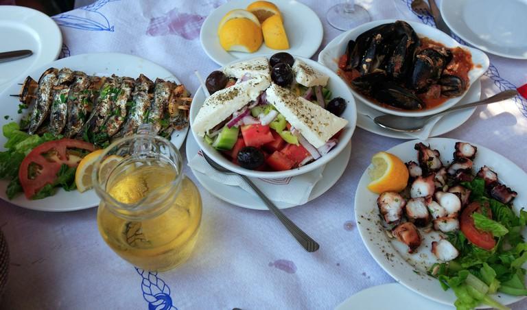 GREECE SPORADES SKIATHOS SKLITHRI TAVERNA STARTERS OR MEZEDES. Image shot 2008. Exact date unknown.