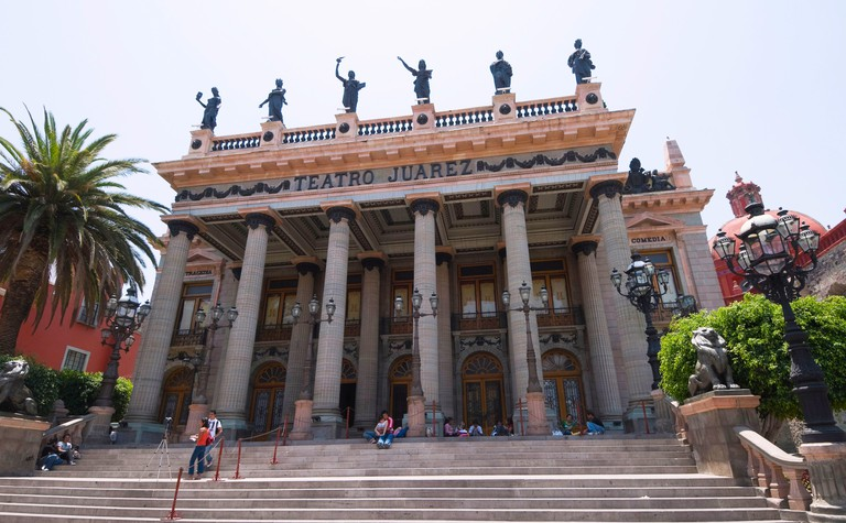 B57WR7 Teatro Juarez, theatre famous for its architectural mixtures in Guanajuato, a UNESCO World Heritage Site, Guanajuato State