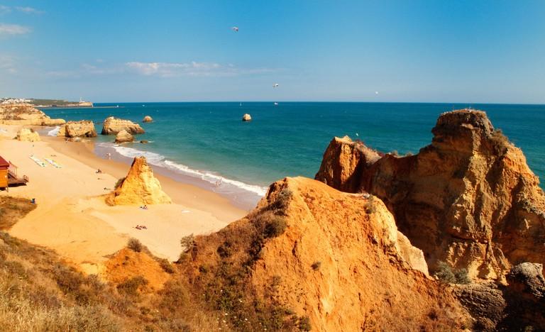 The beach at Praia de Rocha near Portimao Algarve Portugal