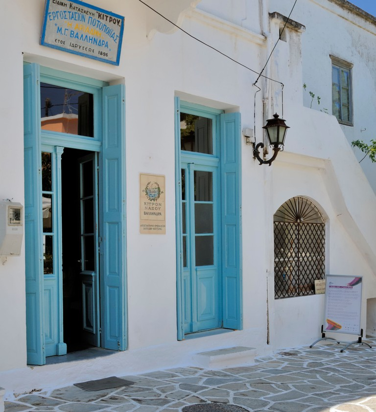 The Vallindras Distillery is in the main square of the small historic village of Halki. The Distillery produces Kitron, a local