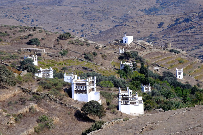 Venetian dovecotes on the Greek Cyclade island of Tinos.