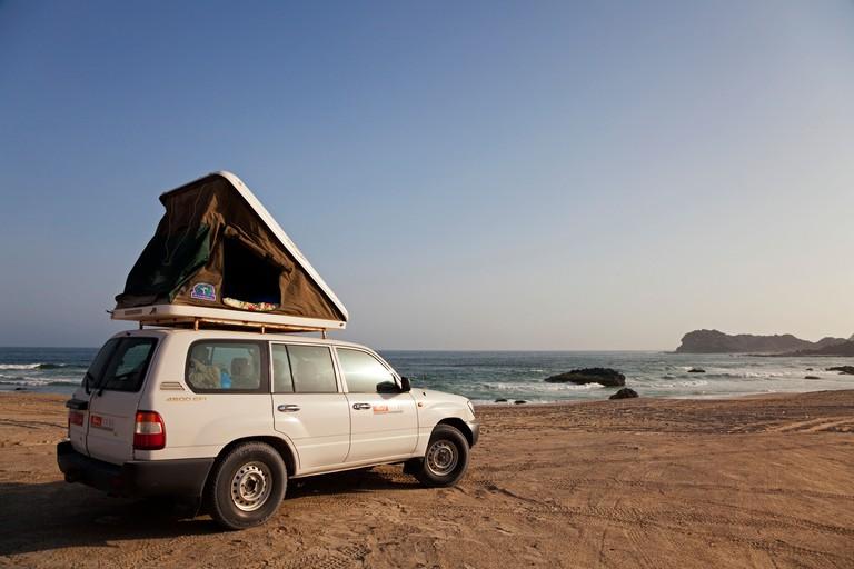 Oman, Duqm. Camping by the coast, south of Duqm.