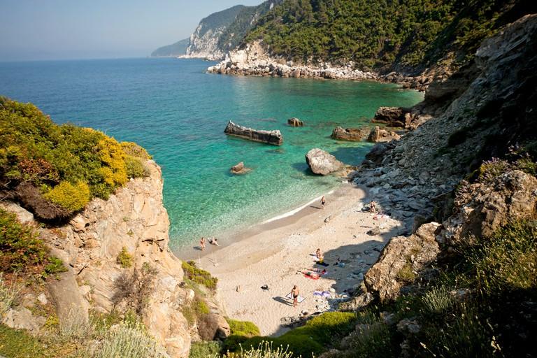 Agios Ioannis beach on the northern coast of Skopelos Island next to the church Agips Ioannis sto Kastri, Skopelos, Greece