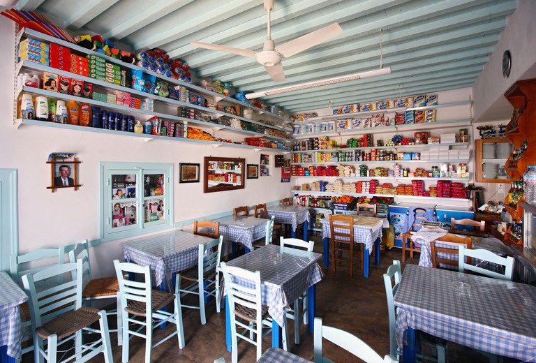 An all-in-one shop (grocery, mini market, cafe, tavern) typical of remote Greek villages, in Ano Mera village, Folegandros.