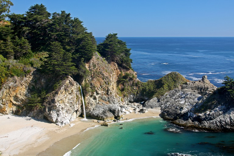McWay Falls in Julia Pfeiffer Burns State Park is an 80 foot tidefall waterfall that flows year-round.
