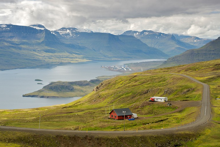 View of Reydarfjordur (background) and Eskifjordur (foreground), two fjords in east Iceland.