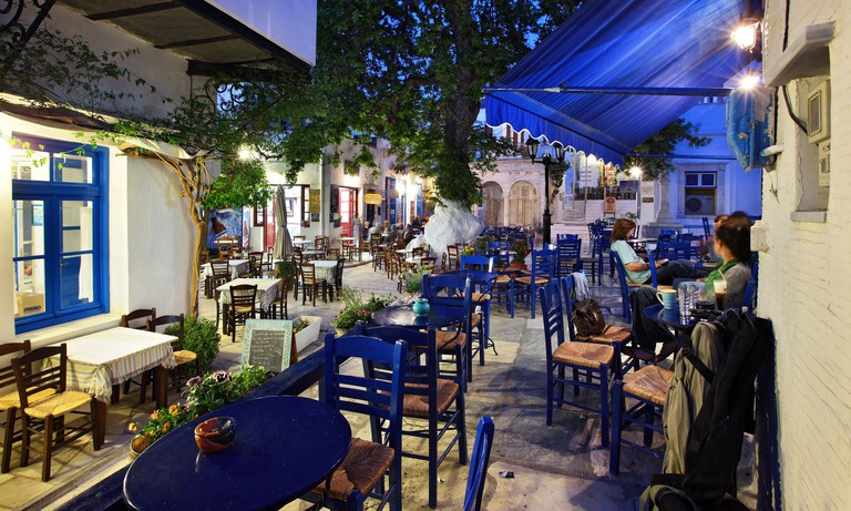 This is the central square of Pyrgos village, probably the most beautiful in Tinos island, Cyclades, Greece.