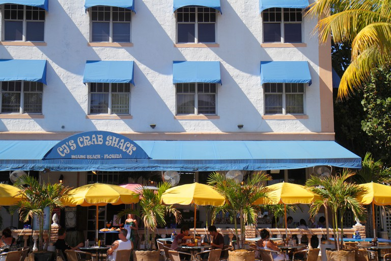 "Florida FL South Miami Beach SoBe Art Deco District ""Ocean Drive"" Art Deco historic District CJ's Crab Shack restaurant restaurants food dine"