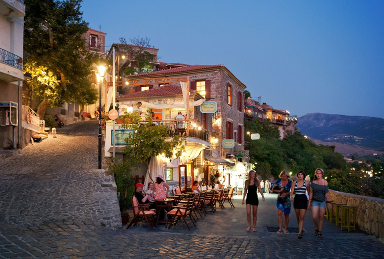 Tourists in Molyvos Lesbos Greece