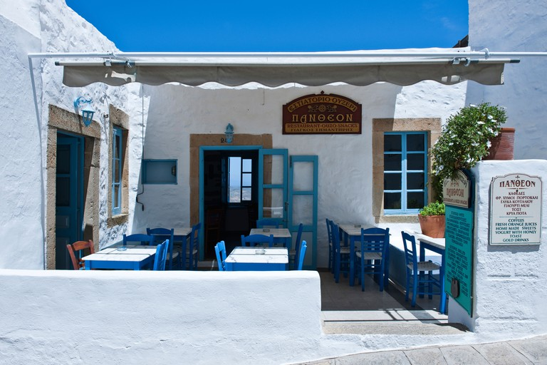 Europe Greece, Dodecanese,Patmos,a tavern in the Chora village