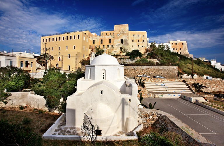 """CPK3NG The """"backside"""" of the Caste of Sanoudos and the church of Agia Kyriaki, Chora (""""capital"""") of Naxos island, Cyclades, Greece."""