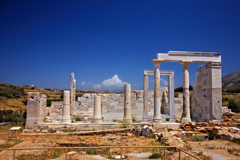 CPK423 The ancient temple of Demeter (Demetra), goddess of agriculture, close to Sangri village, Naxos island, Cyclades, Greece