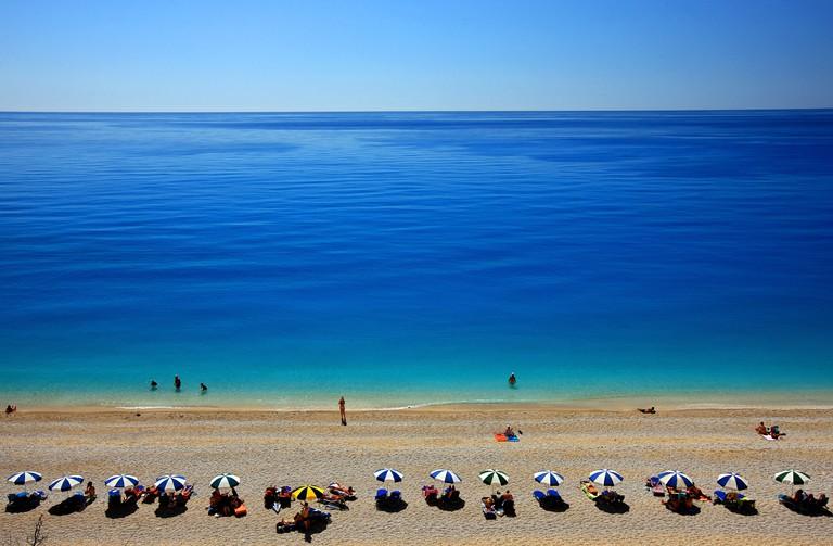"""World famous Egremni beach, Lefkada (or """"Lefkas"""") island, Ionian Sea, Eptanisa (""""Seven Islands""""), Greece"""