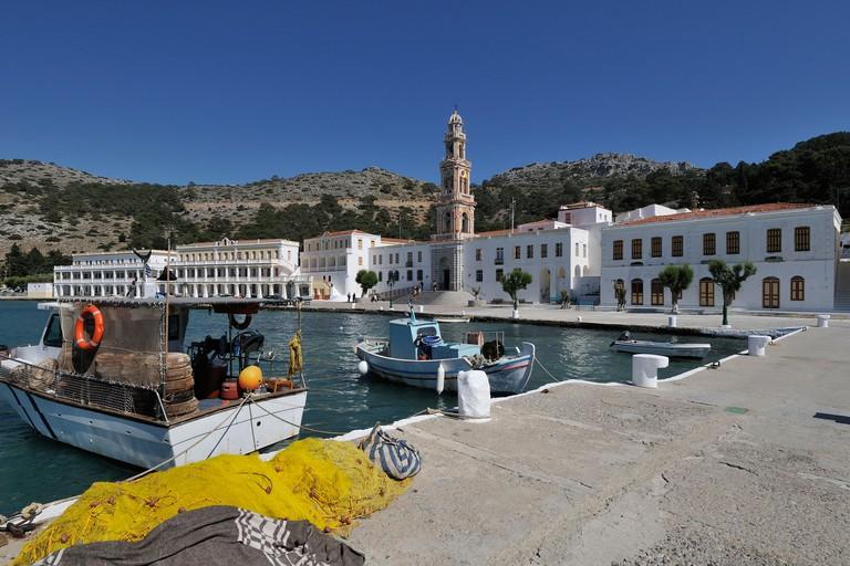 Symi. Dodecanese Islands. Greece. Monastery of Michael of Panormitis / Moni Taxarhou Mihail.