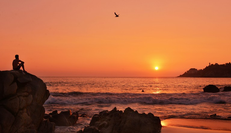 Sunset over the Puerto Escondido beach