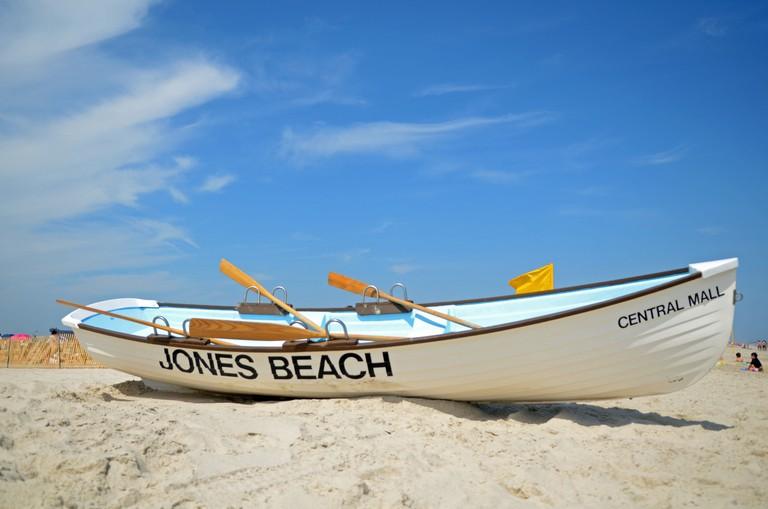 Wood boat on Jones Beach State Park in Nassau County, New York