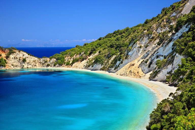 "DA157X Gidaki beach, the most beautiful beach of Ithaca (""Ithaki"") island, Ionian Sea, Eptanisa (""Seven Islands""), Greece."