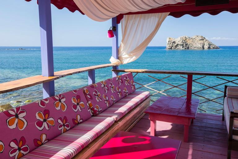 An outdoor bar in Skala Eresou on Lesvos, Greece.