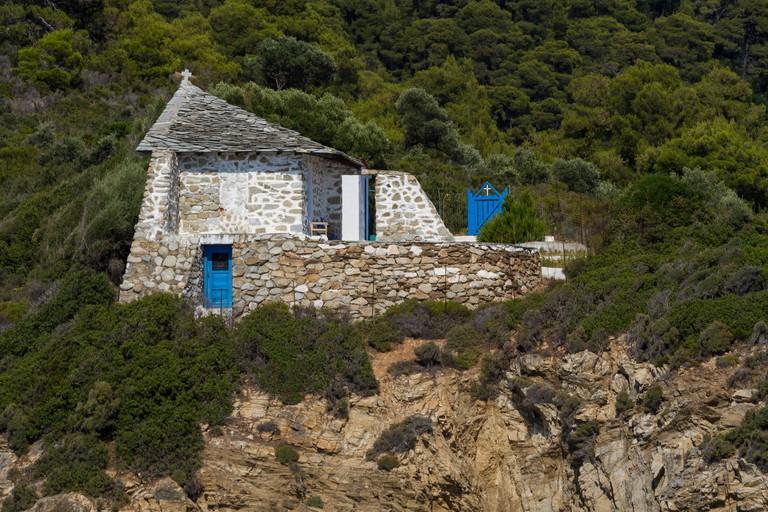 Greece, Sporades, Skiathos, Tsougria island church
