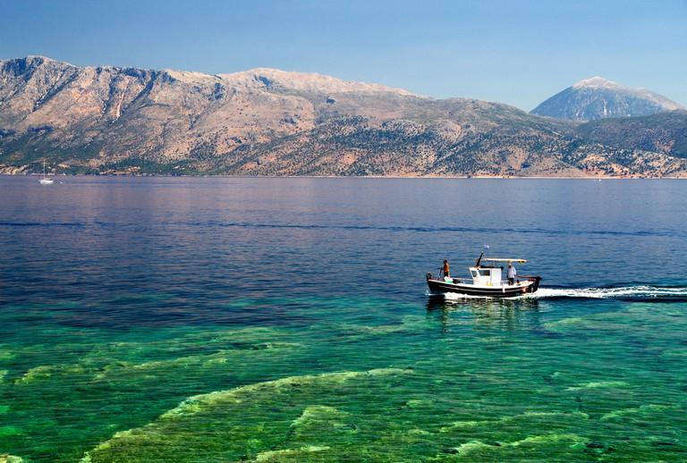 Mountains of mainland Greece from Fanari, Meganisi, lefkada, Ionian Islands, Greece.