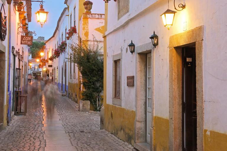 Rua Direita at dusk, Obidos, Leiria district, Portugal