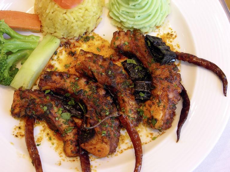 Octopus. Restaurante La Pigua. Campeche. Mexico.