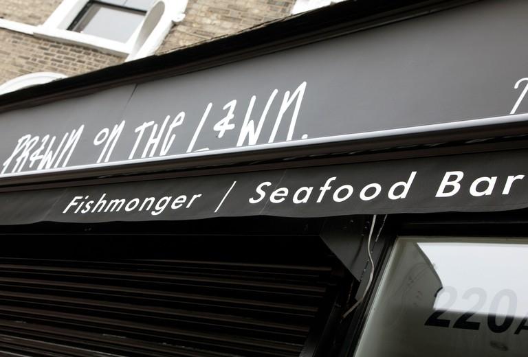 Prawn on the Lawn fishmonger and seafood bar, Islington, London