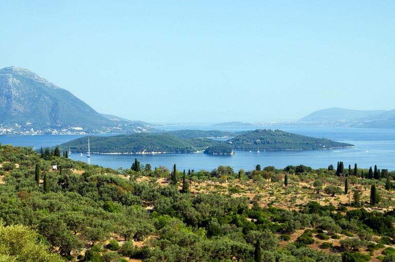 View looking towards Skorpios Island from hill above Spartochori, Meganisi, Ionian Islands, Greece.
