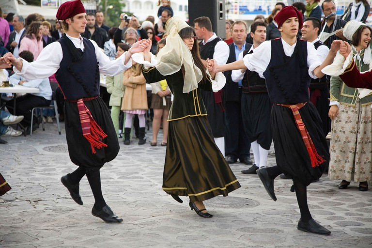 europe, greece, dodecanese, patmos island, skala, feast for the end of easter, greek dances
