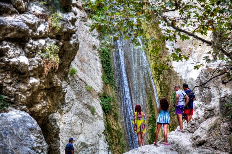 The largest among the waterfalls waterfall in Dimosari gorge, close to Nydri Nidri town, Lefkada Lefkas Greek Island Greece