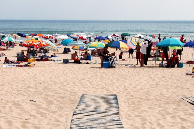 Praia Verde beach between Tavira & Vila Real de Santo Antonio. Algarve Portugal. Image shot 2013. Exact date unknown.