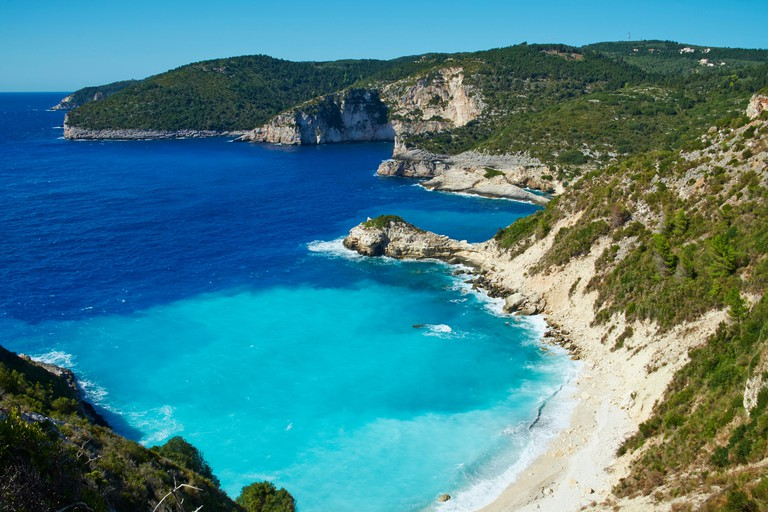 Avlaki beach and bay, Paxos, Paxi, Ionian Islands, Greek Islands, Greece, Europe
