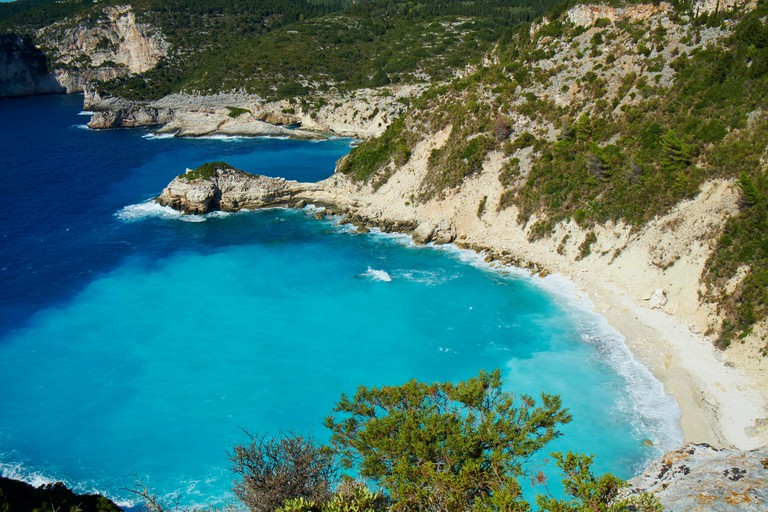 E2GWA7 Greece Ionian island Paxi Paxos Avlaki beach and bay