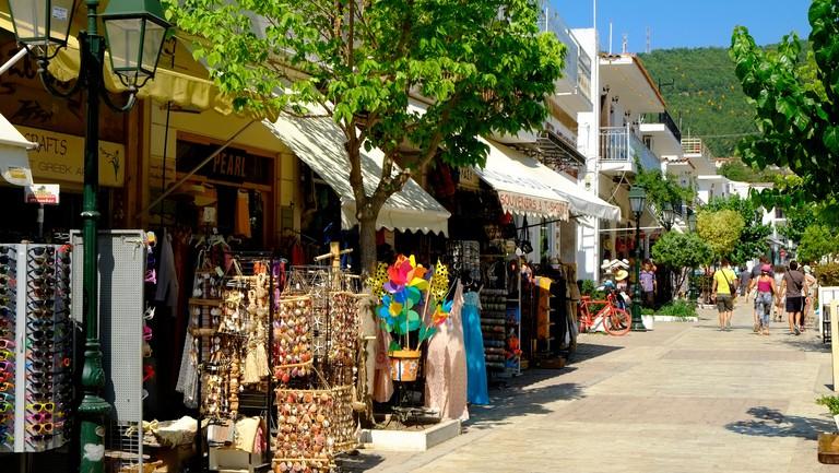 Skiathos Town Shops Papadiamantis Street Sporades Island Greece EU European Union Europe