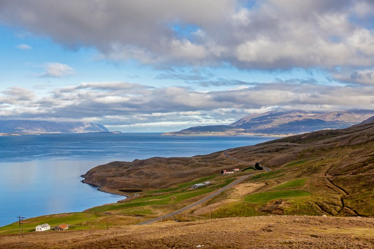 E8W279 Landscape taken from the road near Akureyri in Iceland.