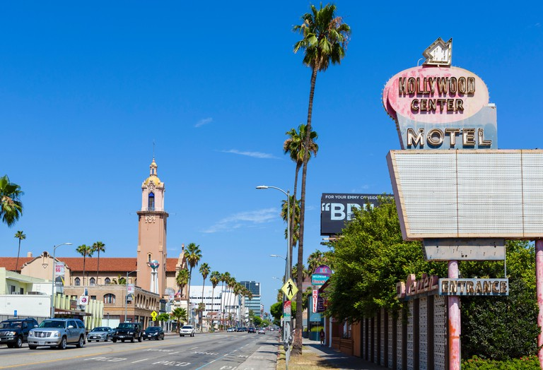 Sunset Boulevard looking towards Crossroads of the World, Sunset Strip, West Hollywood, Los Angeles, California, USA