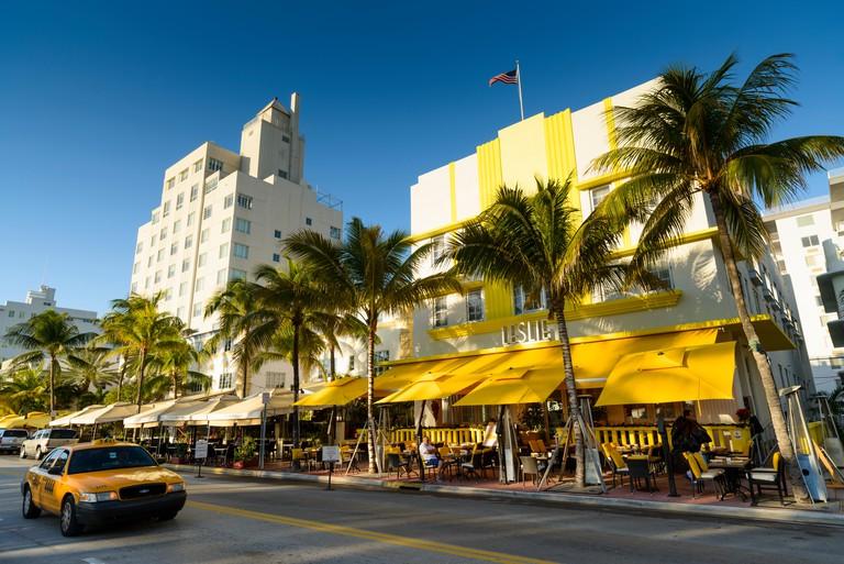 Art Deco Hotels on Ocean Drive, South Beach, Miami, Florida, USA