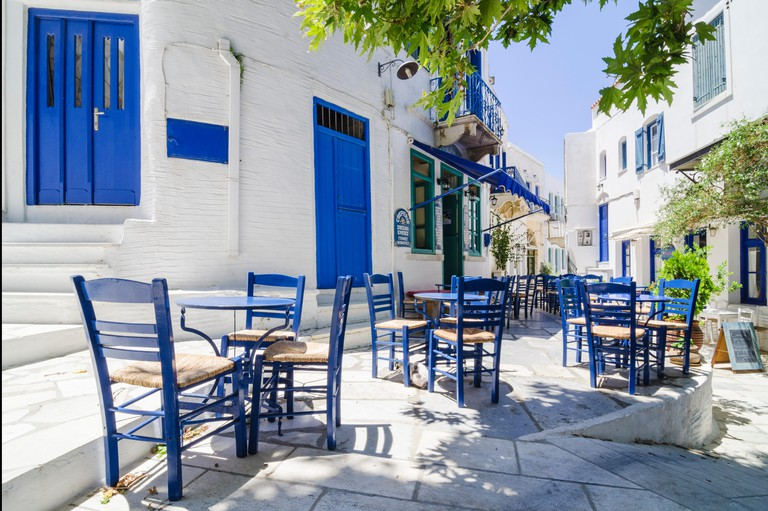 The main square in Pyrgos Town, Tinos Island, Cyclades, Greece