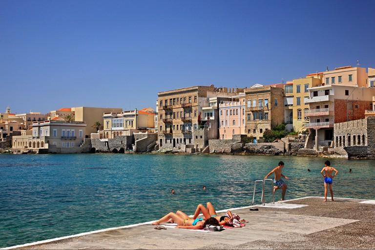 """""""Vaporia"""" neighborhood, Asteria beach, Ermoupolis town, Syros island, Cyclades, Greece."""