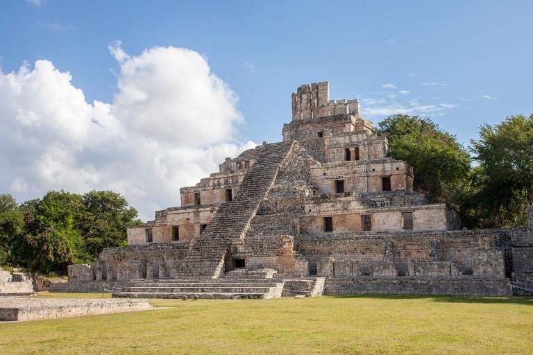 The Five Story Pyramid at the Mayan ruins of Edzna, Campeche.