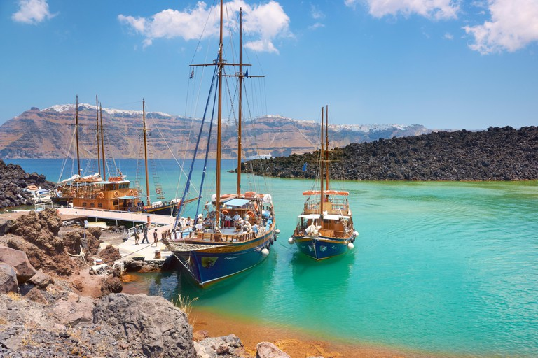 Nea Kameni - Greece, Cyclades Islands, a small port for pleasure craft, from here leads the way to craters on the island