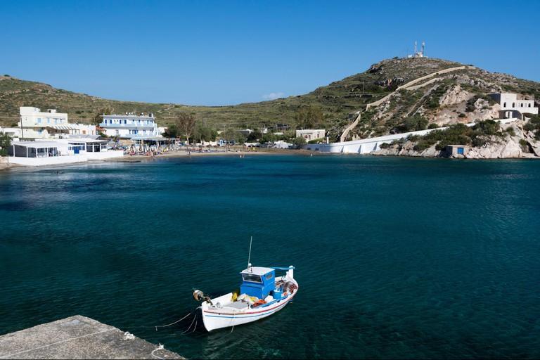 Fishing boat moored at Vari, Syros, Cyclades Islands, Aegean sea, Greece