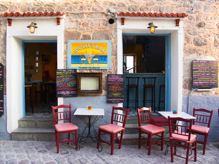 cafe, molyvos, lesbos island, north west aegean, greece, europe