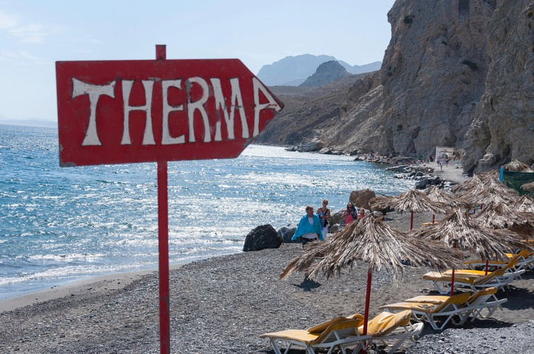 G40NK0 Sign to Therma Hot Springs, Therma Beach, Agios Fokas, Kos (Cos), The Dodecanese, South Aegean Region, Greece