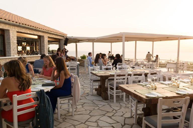 Erimitis Bar and Restaurant, sunset taverna, Paxos, Greece, Europe
